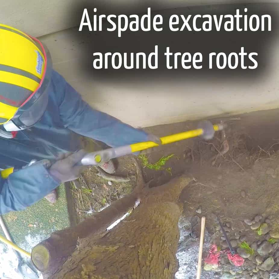 Airspade excavation