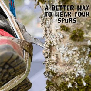 tree cimbing spur strap under the spur - ClimbingArborist.com
